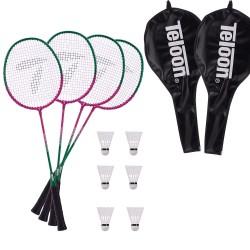 2 komplety do badmintona TELOON TL020 - 4 rakiety + 6 lotek