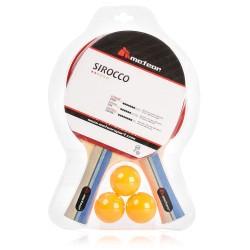 Zestaw do tenisa stołowego METEOR  Sirocco - zestaw 2 rakietki + 3 piłeczki