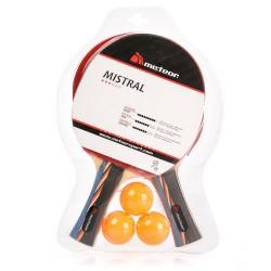 Zestaw do tenisa stołowego METEOR Mistral - zestaw 2 rakietki + 3 piłeczki