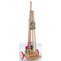 Krokiet gra - krykiet 4 os. z drewnianym wózkiem i stelażem LONDERO
