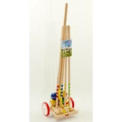 Krokiet gra - krykiet 4 os. z drewnianym wózkiem i stelażem - light LONDERO