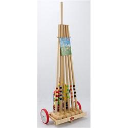 Krokiet gra - krykiet 6 os. z drewnianym wózkiem i stelażem LONDERO 10306/MH