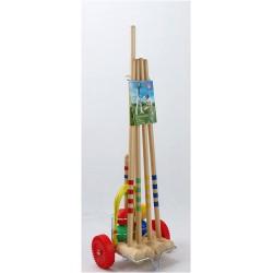 Krokiet gra - krykiet dziecięcy 4 os. z drewnianym wózkiem LONDERO
