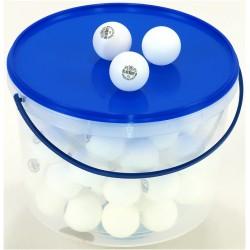 Piłeczki do tenisa stołowego BLUE SHIELD białe - 72szt. w pojemniku