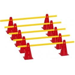 Zestaw treningowy - 10 pachołków 23cm + 5 poprzeczek czer-żół