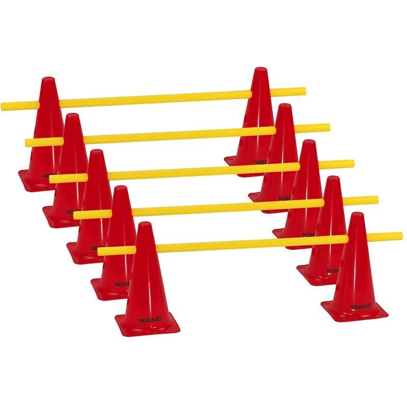 Zestaw treningowy - 10 pachołków 30cm + 5 poprzeczek czer-żół