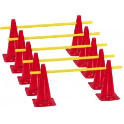 Zestaw treningowy - 10 pachołków 38cm + 5 poprzeczek czer-żół