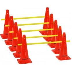 Zestaw treningowy - 10 pachołków 45cm + 5 poprzeczek pom-żół