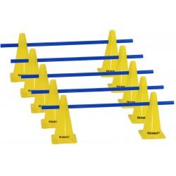Zestaw treningowy - 10 pachołków 30cm + 5 poprzeczek żół-nieb