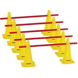 Zestaw treningowy - 10 pachołków 38cm + 5 poprzeczek żół-czer