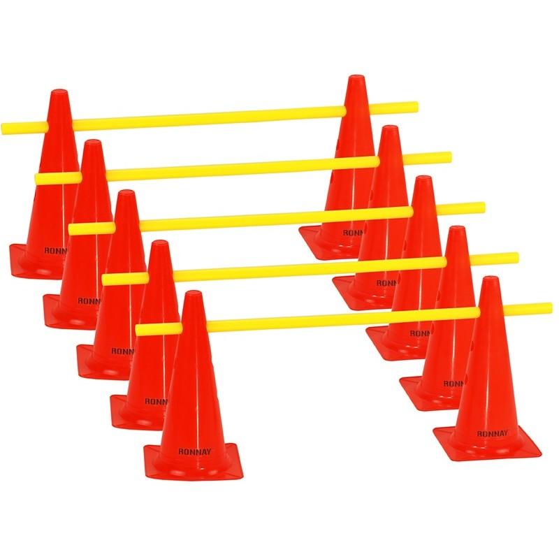 Zestaw treningowy - 10 pachołków 38cm + 5 poprzeczek pom-żół