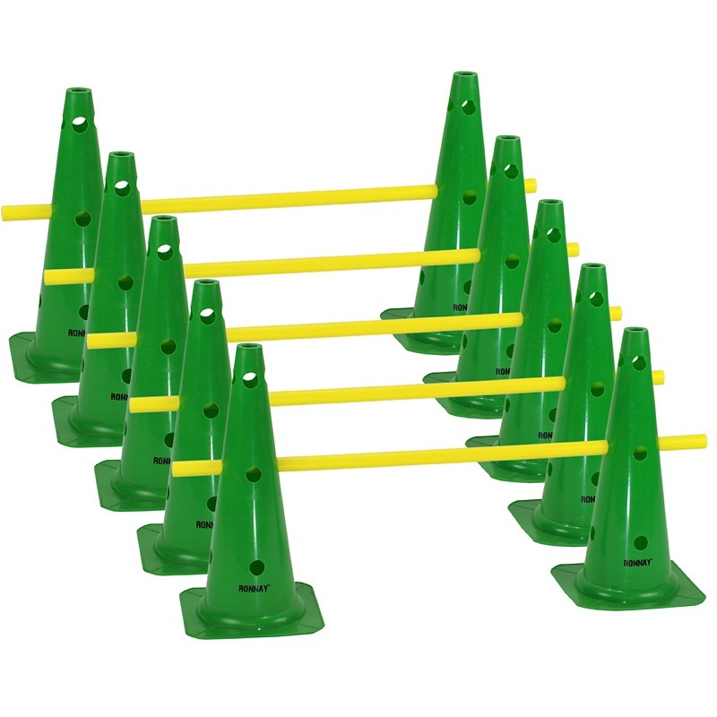 Zestaw treningowy - 10 pachołków 45cm + 5 poprzeczek ziel-żół