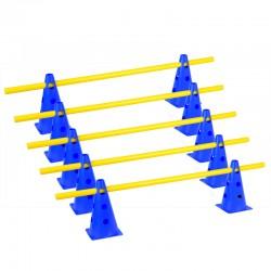 Zestaw treningowy - 10 pachołków 23cm + 5 poprzeczek nieb-żół