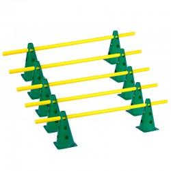 Zestaw treningowy - 10 pachołków 23cm + 5 poprzeczek ziel-żół