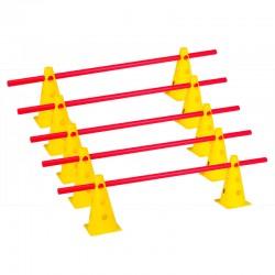 Zestaw treningowy - 10 pachołków 23cm + 5 poprzeczek żół-czer