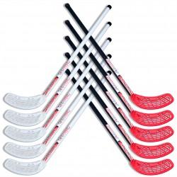 Zestaw do unihokeja UNIBROS Strong 85cm - 10 kijów biało-czarno-czerwone