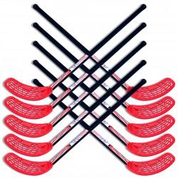 Zestaw do unihokeja UNIBROS Strong 85cm - 10 kijów czarno-czerwone